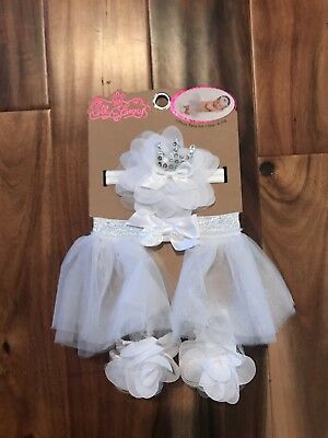 White/silver Infant Tutu With Crown Headband And Shoes - Brand New