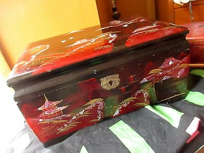 Extraordinary Vtg Japanese Asian Midcentury Lacquered Wood Jewelry Box W/Mirror