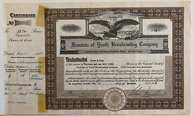 Fountain of Youth Broadcasting Company  > 1941 St. Augustine Florida certificate