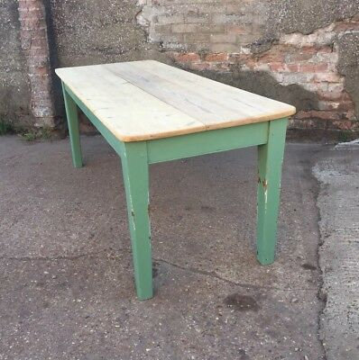 Victorian Solid Pine Plank Scrub Top Table 6ft Seats 6/8