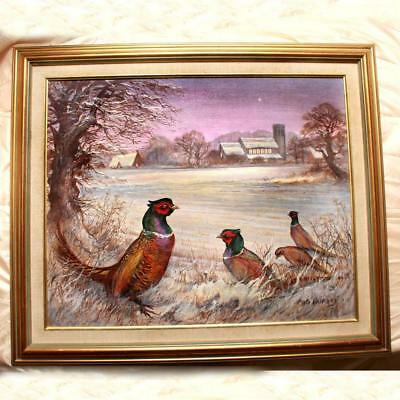 """Mig Hurley Signed Oil Painting On Canvas """"Pheasant Potter Heigham"""" Rdy 2 Hg"""