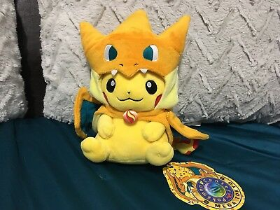 Official Authentic Pokemon Center Pikachu Dressed As Charizard Happy Face Plush