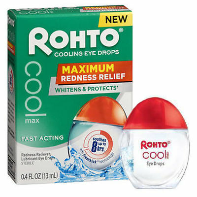 ROHTO Cooling Eye Drops, MAXIMUM Redness Relief - fast acting 0.4 fl oz, 13 ml