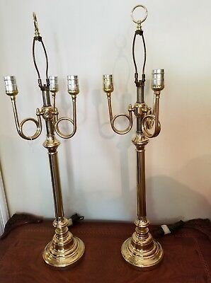 "Rare Pair of Alsy Tall 34"" Brass French Horn Table Lamps."