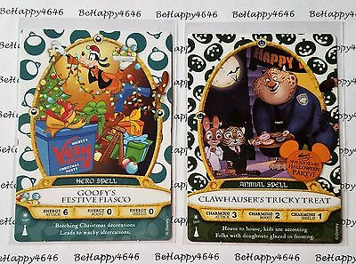 2 Disney Sorcerers Of The Magic Kingdom Party Cards Clawhauser 9P and Goofy 10P