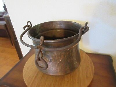 Vintage Large Hammered Copper Pot Cauldron With Hanging Handles Heavy Copper