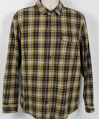 LRG Men's Large Long Sleeve Flannel Button Front Shirt Brn Plaid New No Tags