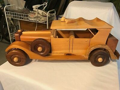 """Wooden Handmade Classic Old Car Home Decor 18"""" Long"""