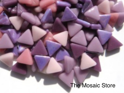 Mixed Pink & Purple Glass Triangles | Mosaic Tiles Supplies Art Craft