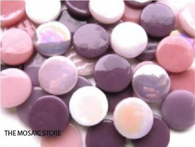 Mixed Pink & Purple Large Glass Dots (Circles & Round Tiles) - Mosaic Art Craft