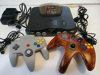Nintendo 64 Console with Super Smash Bros Two Controllers TESTED & READY TO PLAY
