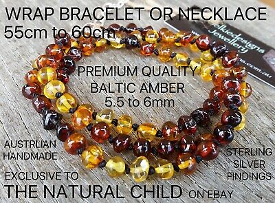 Exclusive - Genuine Baltic Amber Wrap Bracelet Or Necklace - Rainbow - Free Post