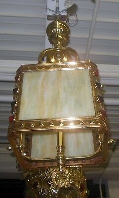 SUPERB Antique  VICTORIAN Caramel SLAG Glass Jewel Light Fixture Hanging Lamp