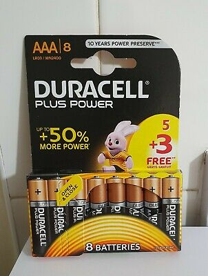 8 x Duracell Simply AAA Alkaline Batteries LR03 MN2400 1.5V