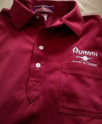 Vintage Aladdin Hotel & Casino Embroidered Logo Golf Style Shirt & Bag New Med