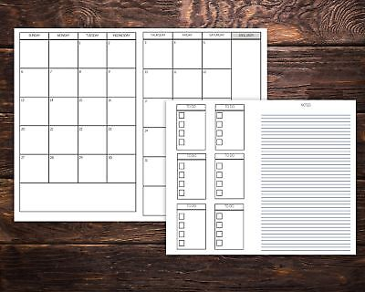Monthly Dated Calendar Travelers Notebook Insert with To Do List and Notes 2019