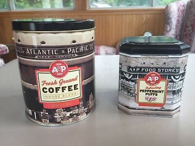 A & P Coffee & Peppermint puffs, Tin Can Vintage RARE Decorative set of 2