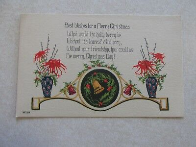 F113 Postcard Merry Christmas holly  bell day
