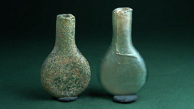 2 Ancient Glass Vials Perfume Vessels Roman 100-300 Ad