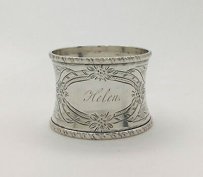 "A Fine Bright Cut Engraved Sterling Silver Napkin Ring ""Jan. 17th. 1865 ~ Helen"""