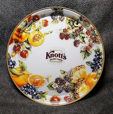 Vintage Knott's Berry Farm Tin Serving Tray Round Beautiful graphics collectors