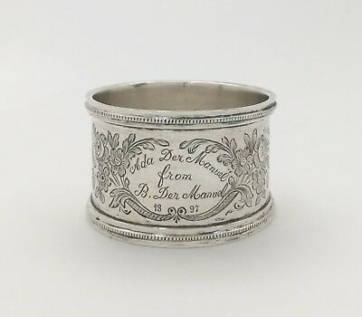 "Great Sterling Silver Napkin Ring ""Alda Der Manuel From B. Der Manuel ~ 1897"""