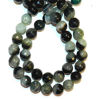 """GR2166 Green Agate & Crystal Quartz 10mm Faceted Round Gemstone Beads 15"""""""