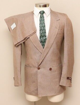 NOS Vintage Mens 34R Tallia 2 Piece Brown Fleck Silk Blend Double Breasted Suit