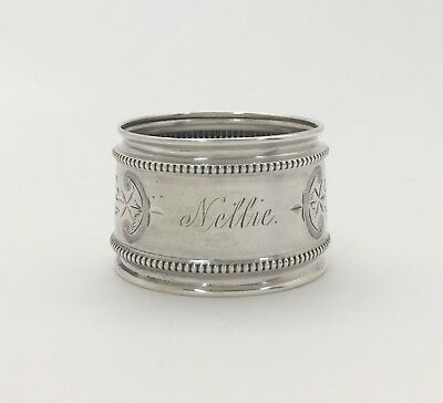 "A Fine Victorian Bright Cut Engraved Large Sterling Silver Napkin Ring ""NELLIE"""