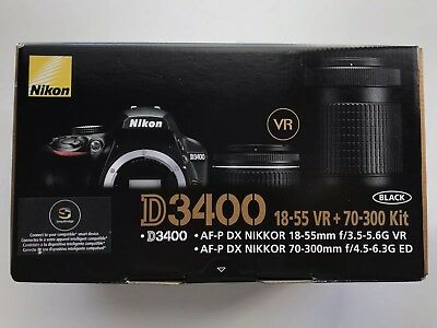 Brand New Nikon D3400 DSLR Camera with AF-P DX 18-55mm G VR and 70-300mm G ED