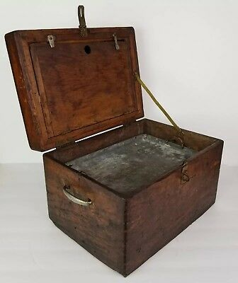 Primitive Wooden Box Wood Art Work Box Joint Rustic Vintage Antique