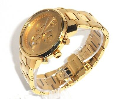 9393490f7 Movado Bold $995 Men's Big Gold Stainless Steel Chronograph Swiss Watch  3600278
