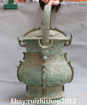 "16"" Old Chinese Bronze Ware Ancient Portable Dragon Cattle Beast Pot Jar Crock"