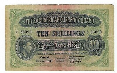 East Africa Currency Board 10 Shillings 1939 VF P-29a. JO-6306
