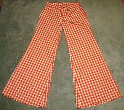 VTG 60s 70s LEMON FROG SHOP FOR YOUNG TEENS RED WHITE CHECK BELL BOTTOMS PANTS