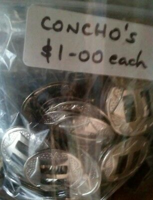 Western Silver Conchos Fixings many assorted styles & sizes @ $1.00 ea you pick