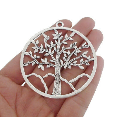 5pcs Antique Silver Large Tree Life Round Charms Pendants for Jewelry Making