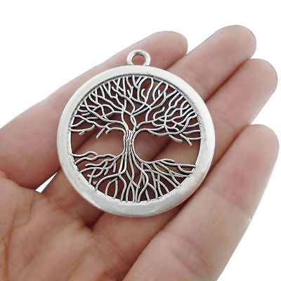 5pcs Antique Silver Tone Large Tree Charms Pendants for Jewelry Making Findings
