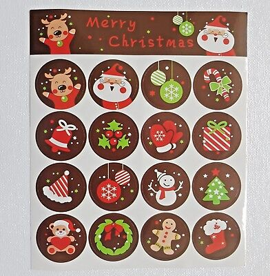 80 x Merry Christmas Badge Stickers -Envelope and Gift Seal/ For Christmas Craft