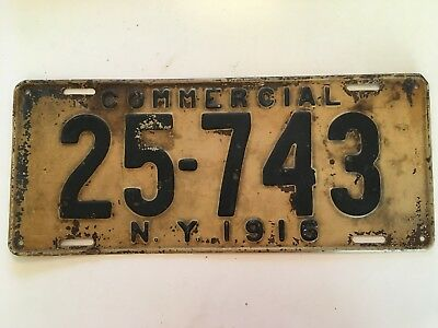 1916 New York License Plate Truck Commercial Pickup RARE TYPE 100% All Original