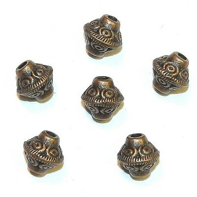 MB3116 Antiqued Copper 7mm Circle Pattern Bicone Metal Alloy Beads 25pc