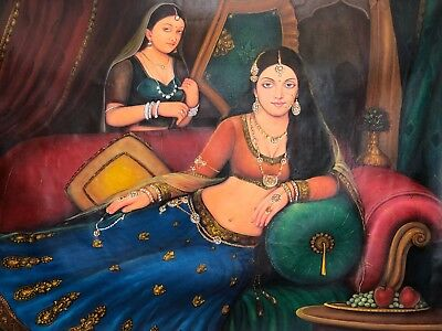 Large Handmade Indian Art Rajasthani Queen Portrait Fine Oil on Canvas Painting