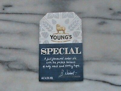 Young's Special real ale beer pump clip sign