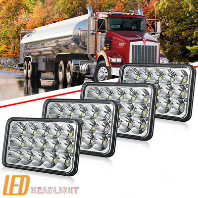 """New DOT Approved 4""""x6"""" LED Headlights Lamps Fit Kenworth Peterbilt Freightliner"""