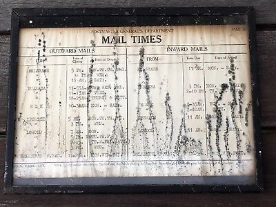 Old Brisbane Valley Train Mail Times Notice Metal Framed
