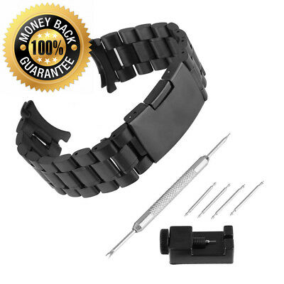 Bewish Stainless Steel Watch Strap Replacement Band Solid Metal Curved End...
