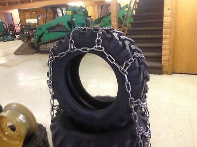 Skid Steer 10-16.5 Tire Chain Traction Snow Ice 10x16.5 4Link Pair Case Hardened