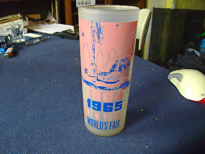"""1964 SOUVENIR GLASS New York World's Fair THE POOL OF INDUSTRY 6.5"""" Frosted"""
