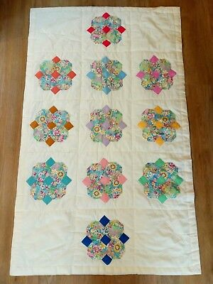 Handmade Teddy Bear Patchwork Cot Quilt/ Quilted Play Mat. Lovely Condition.
