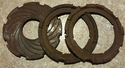 3 Vintage Cast Iron Metal Gear Steampunk Industrial Plates Art Machine Farm Lot